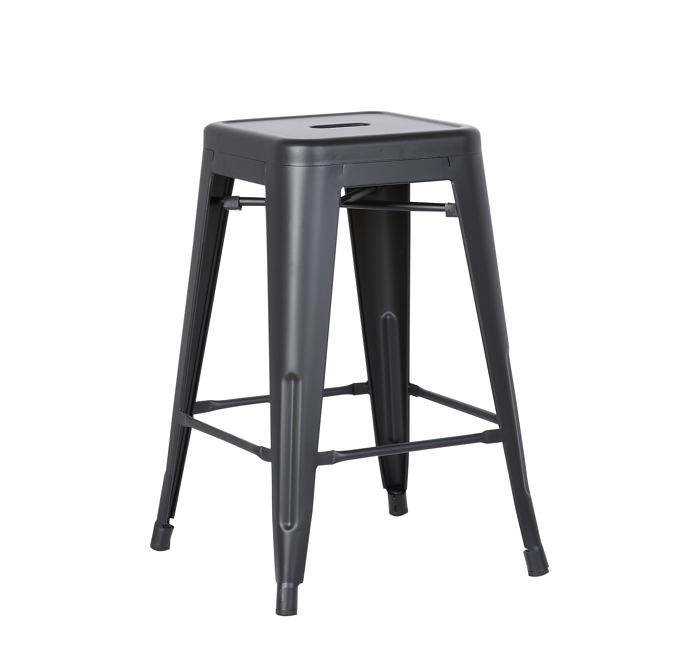 Backless Industrial Metal Bar Stools Matte Black Set Of